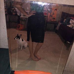 Black Midi Skirt with Slit